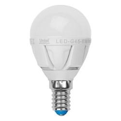 Лампа светодиодная Uniel E14 6W 4500K матовая LED-G45-6W/NW/E14/FR ALP01WH 07903