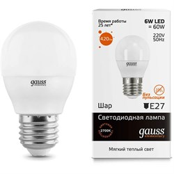 Лампа светодиодная Gauss E27 6W 3000K матовая 53216
