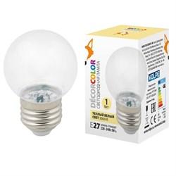 Лампа декоративная светодиодная Volpe E27 1W 3000K прозрачная LED-G45-1W/3000K/E27/CL/С UL-00005807