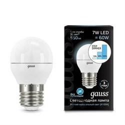 Лампа светодиодная диммируемая Gauss E27 7W 4100K матовая 105102207-S