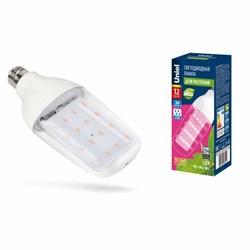 Лампа светодиодная для растений Uniel E27 12W прозрачная LED-B82-12W/SPBR/E27/CL PLP33WH UL-00007647