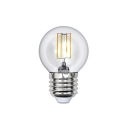 Лампа светодиодная филаментная Uniel E27 6W 3000K прозрачная LED-G45-6W/WW/E27/CL UL-00000196