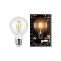 Лампа светодиодная филаментная Gauss E27 6W 2700K прозрачная 105802106