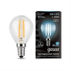 Лампа светодиодная филаментная Gauss E14 5W 4100K прозрачная 105801205
