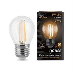 Лампа светодиодная филаментная Gauss E27 5W 2700K прозрачная 105802105