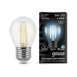 Лампа светодиодная филаментная Gauss E27 5W 4100K прозрачная 105802205