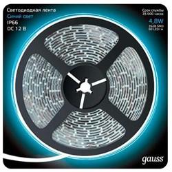 Светодиодная влагозащищенная лента Gauss 4,8W/m 60LED/m 2835SMD синий 5M 311000505