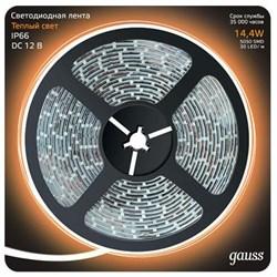 Светодиодная влагозащищенная лента Gauss 14,4W/m 60LED/m 5050SMD теплый белый 5M 311000114