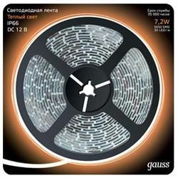 Светодиодная влагозащищенная лента Gauss 7,2W/m 30LED/m 5050SMD теплый белый 5M 311000107
