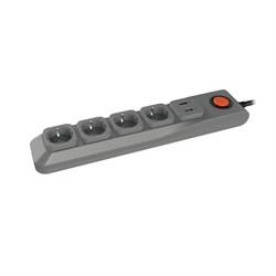 Сетевой фильтр Uniel 4гн х 3м с/з Lux S-GSL5-3U Grey UL-00001761