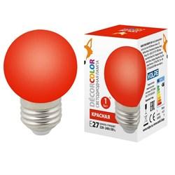 Лампа светодиодная Volpe E27 1W красная LED-G45-1W/RED/E27/FR/С UL-00005646