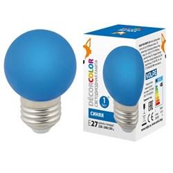 Лампа светодиодная Volpe E27 1W синяя LED-G45-1W/BLUE/E27/FR/С UL-00005647
