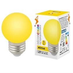 Лампа светодиодная Volpe E27 1W желтая LED-G45-1W/YELLOW/E27/FR/С UL-00005649