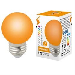 Лампа светодиодная Volpe E27 1W оранжевая LED-G45-1W/ORANGE/E27/FR/С UL-00005650